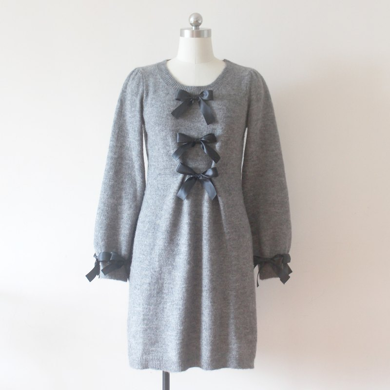 Upcycled fashion grey bow knitted dress