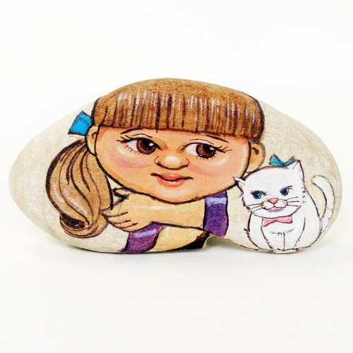 Girl & Little Cat Stone Painting.Gift for Friends.