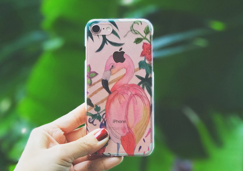 Tropical Flamingo iPhone 7 Case // Clear Case // Hard Case // iPhone7 // iPhone8
