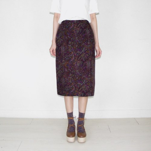 Color vintage totem ancient high waist knee skirt BH2036