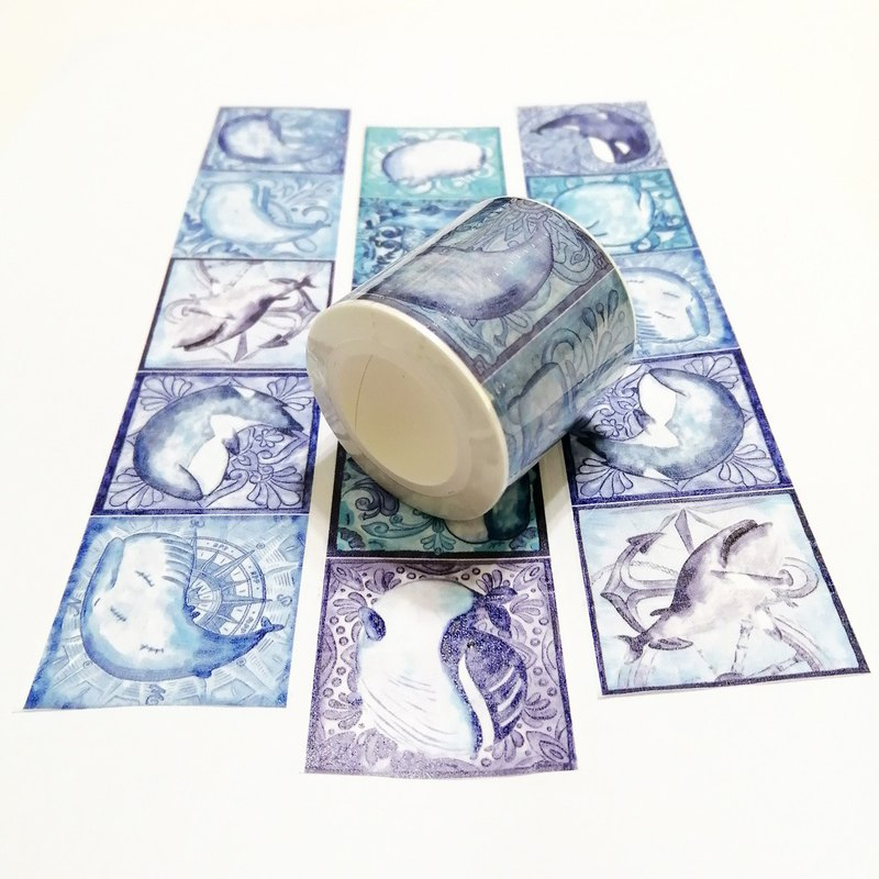 Jielin Washi Tape Blue Whale Tiles