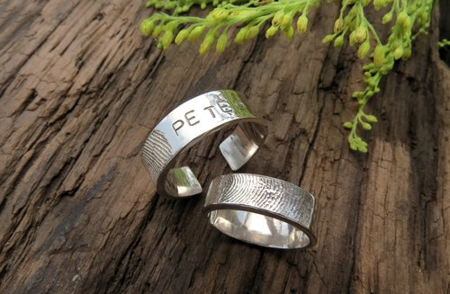 ReShi / fingerprinting opening ring (male) / 925 sterling silver / fingerprint silver / custom handmade / lover family gift