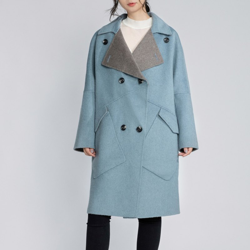 O-wool two-tone double-faced coat jacket [CONTRAST card poem]