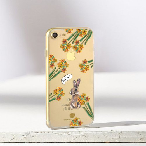 Bunny clear phone case Floral iPhone x Case iphone 8plus case Samsung s8 case