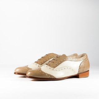 ITA BOTTEGA [Made in Italy] ivory white / bare brown classic two-color carved oxford shoes
