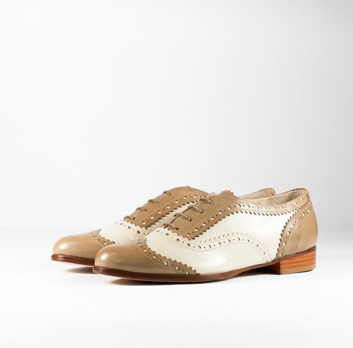 ITA BOTTEGA[Made in Italy]Italian Leather Ivory/Neon Brown Classic Carved Oxford Shoes