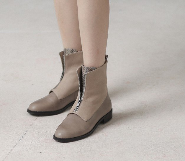 Zipper flap leather straight flat leather boots brown