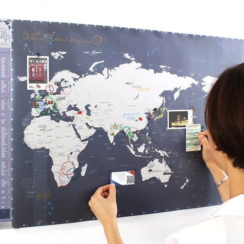 indigo- world map poster (double) -06 dark blue (limited home delivery), IDG70275