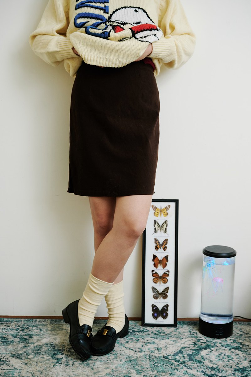 Guanxi Dialect Women | Coffee Flannel Slit Short Skirt