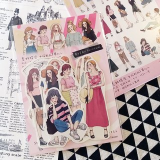 Beautiful time girl stickers set 18 pieces into