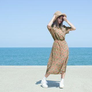 Earth flower short-sleeved vintage dress