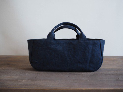 [MILITARY TWILL] Round Tote with Lid Yoko Naga (Navy)