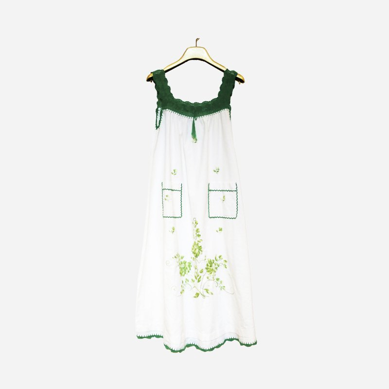 Dislocation vintage / embroidered double pocket vest dress no.1161 vintage