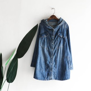 Kagawa light blue hooded youth art party day antique cotton denim shirt jacket oversize