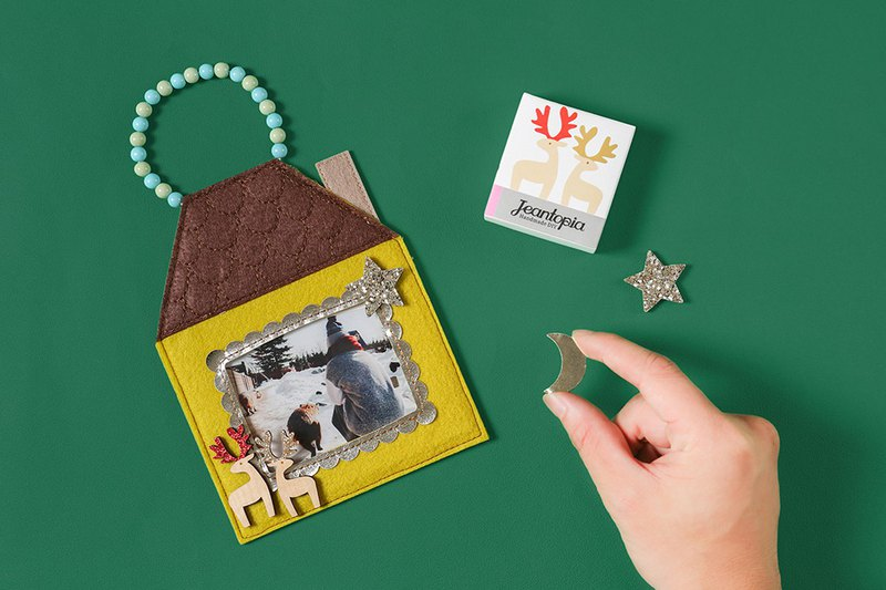 Christmas set moose cloth photo frame / 9027606