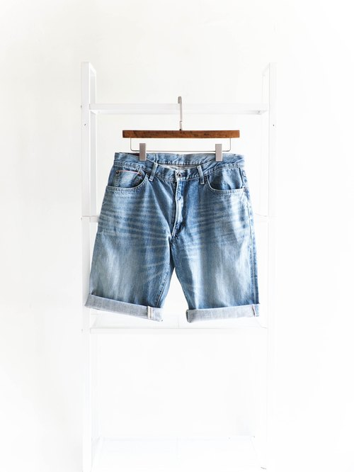 River water - edwin 505s / W33 Tokushima youth restless light blue hand sign cotton tannin antique straight shorts ancient leather denim pants vintage