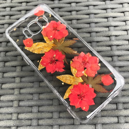 Samsung Galaxy S8 Dry Pressed Flowers Case Red Flower case 004