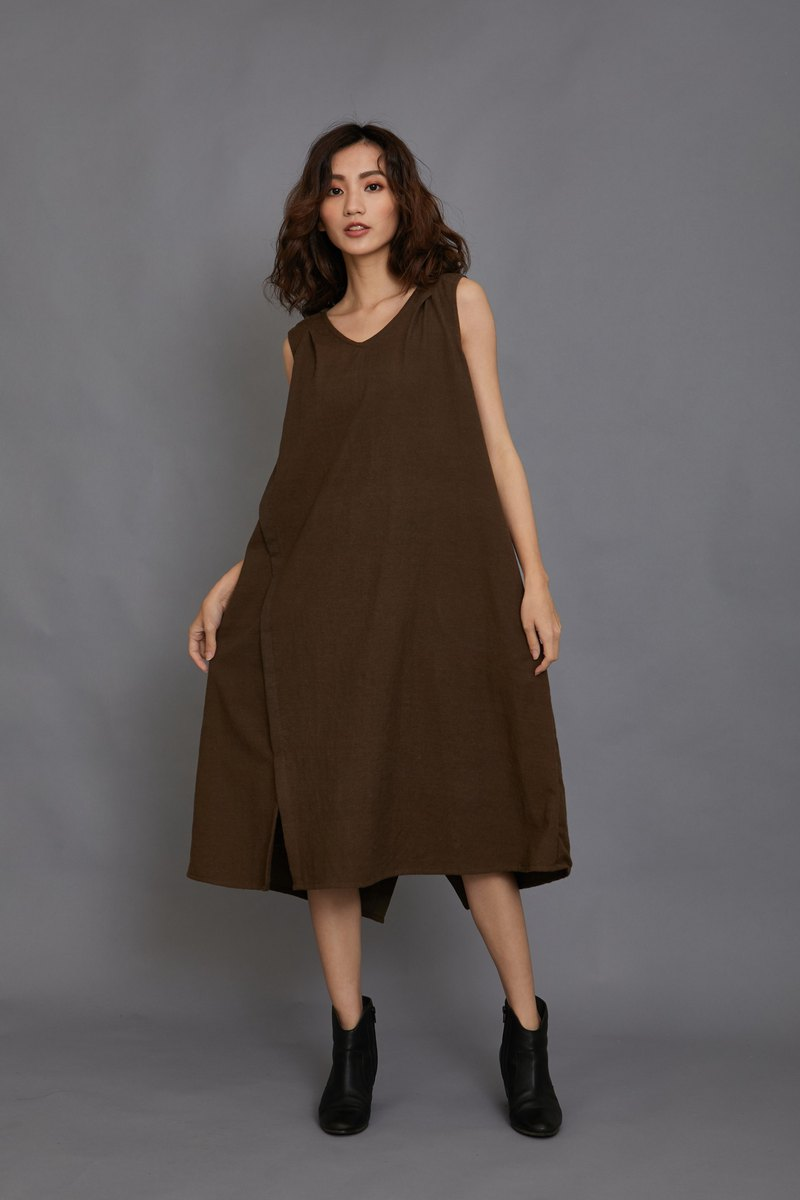 Dead Leaf Sleeveless Open Dress - Coffee - Fair Trade