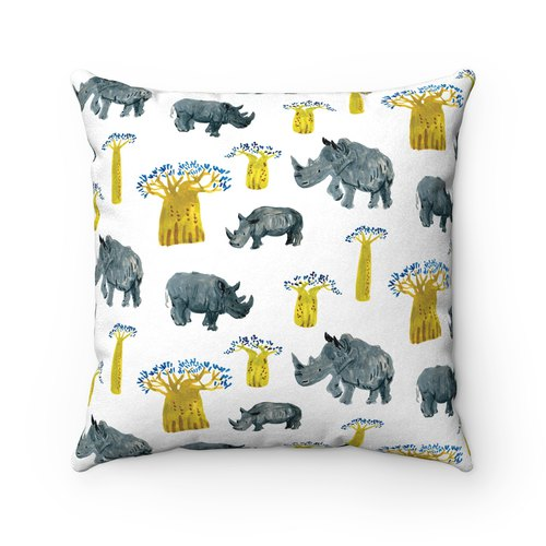 Rhinoceros Pillow African Animal Bread Tree Fluffy Pillowcase - with Pillow