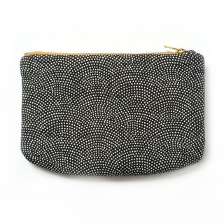 Japanese Indigo Pouch Padded Small Purse 鮫小紋- Minimalist Gift for Men Women