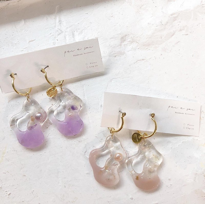 Irregular water block earrings