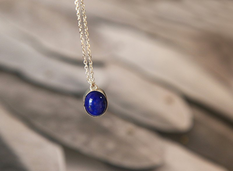Sterling silver gemstone necklace lapis lazuli