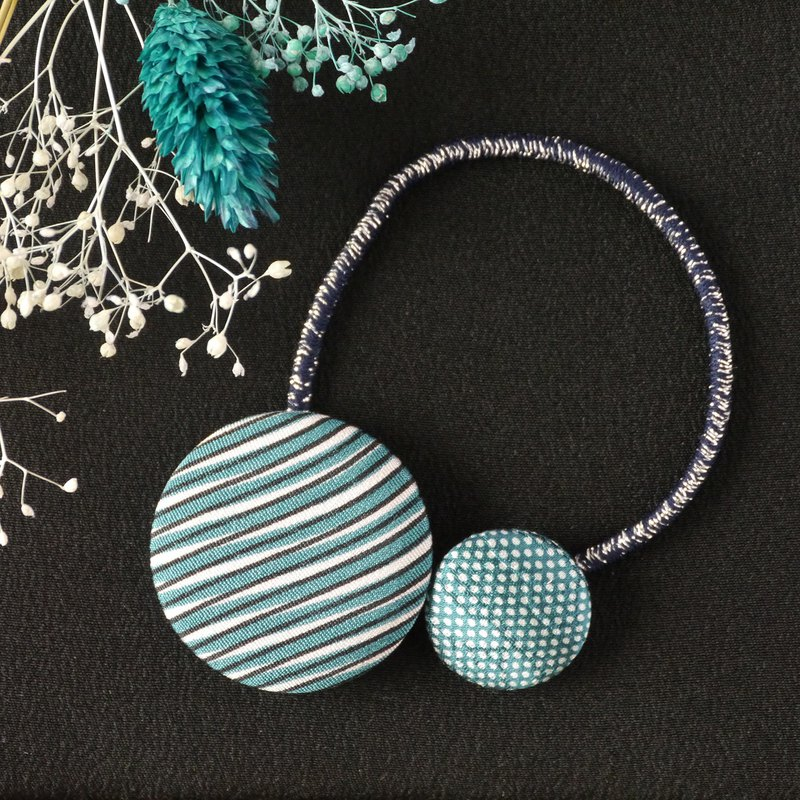 Happy hair ornament Kimono hair rubber 1 piece [stripe · dot]