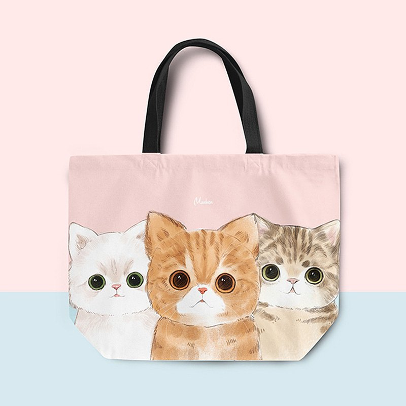 [Fat cat three brothers] lunch bag tote bag