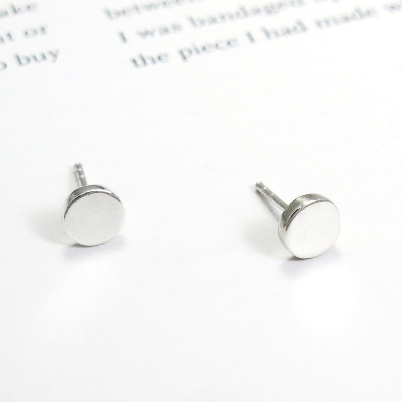 Small round series of round silver earrings (in) -64DEISGN