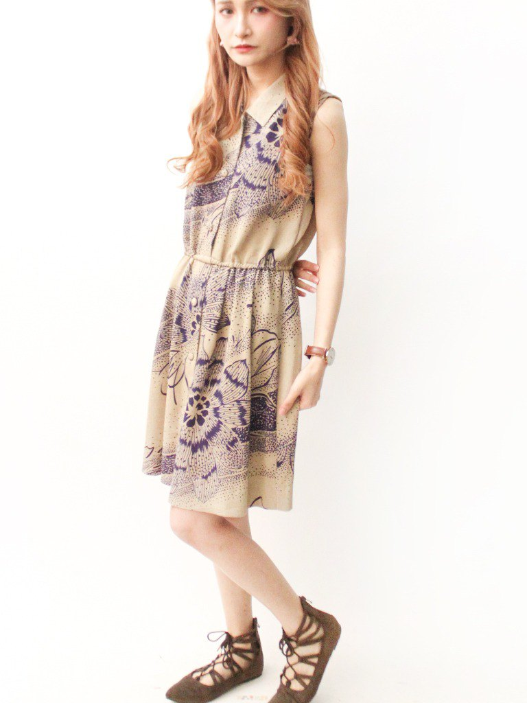 Retro Adult Sensual Print Flower Khaki Sleeveless Vintage Dress VintageDress