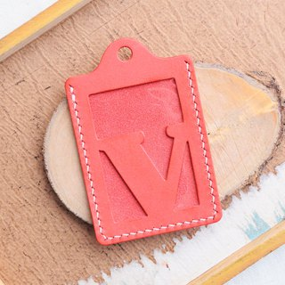 Initial V letter ID set of well-stitched leather material pack card holder name card holder free engraving