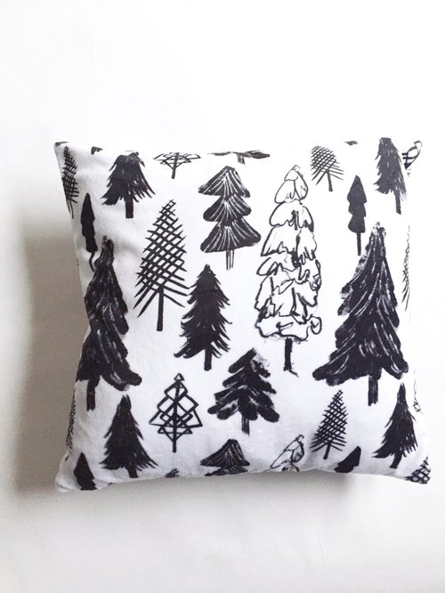 Tree pillowcase in the snow Nordic minimalist black and white pillow fluffy pillowcase - No pillow