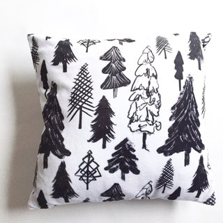 Tree Pillow in the Snow Nordic Miniature Black and White Pillow Fluff Pillow - with Pillow