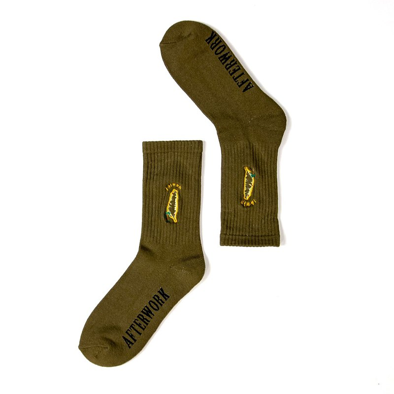 AFTER WORK Taiwanese electric embroidered socks army green