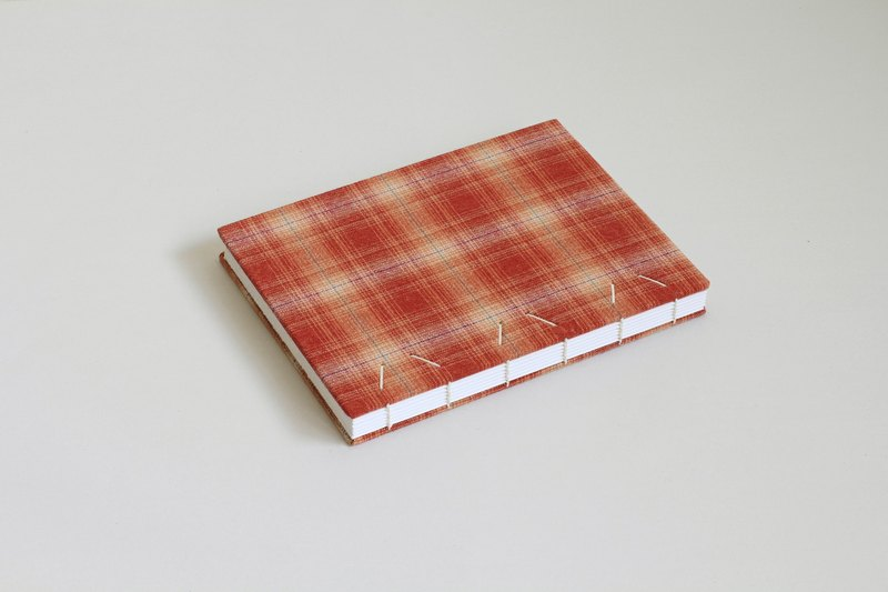 Handbound Notebook - Hard Cover with Fabric Cloth, Coptic Binding, Plaid