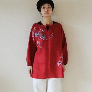Smock blouse · red <Sasa · lotus>