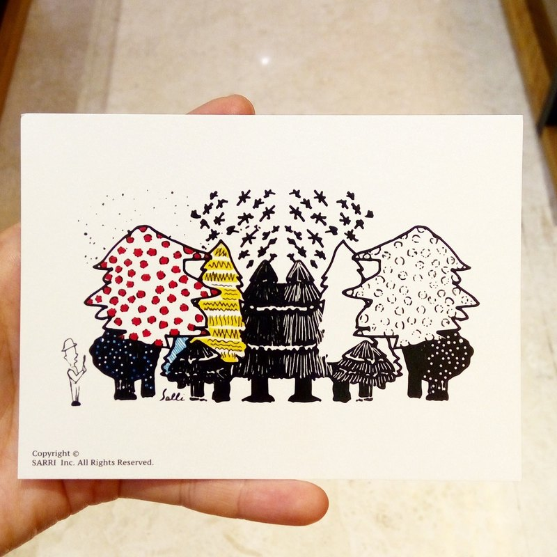 Botanist Watching the Forest Postcard Birthday Card Design Coloring Illustration Drawings Card Universal Card Art Art Modern Lovers Love Special Interesting Weird Characters Weird Cute Taiwan Yellow Fun Funny Eye-catching Tale of Art Sequins Dazzle Cool No