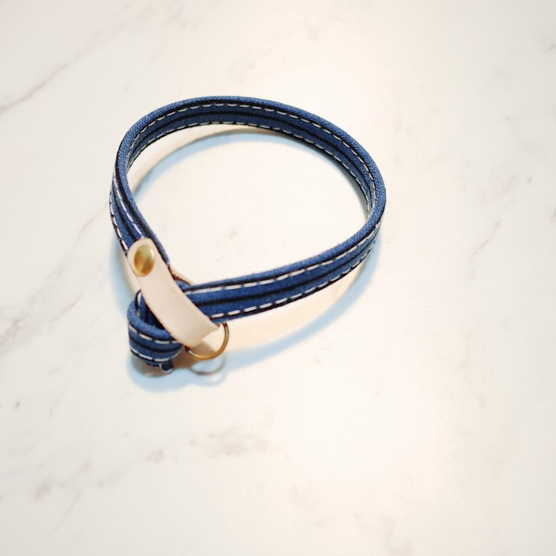 Cat collar retro texture gentleman style dark blue straight stripes cotton + tanned leather cat