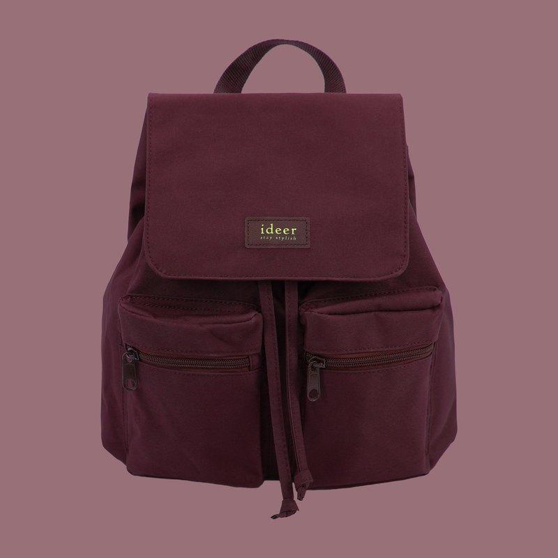防潑水酒紅色尼龍超輕背包 後背包 電腦包 旅行 書包