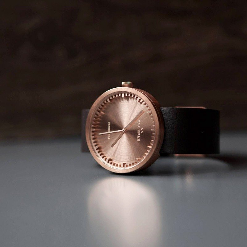 LEFF amsterdam | tube Nordic industrial gear design leather watch (38mm, rose gold, brown belt)