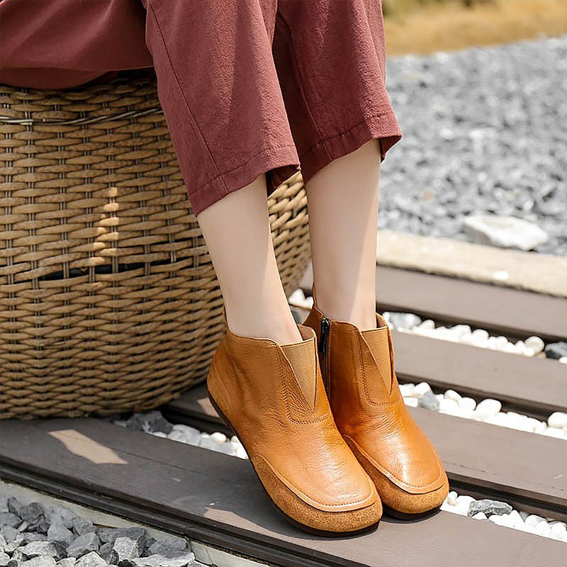 2020 leather Martin boots handmade short boots women's shoes Yiwen leather comfortable women's boots