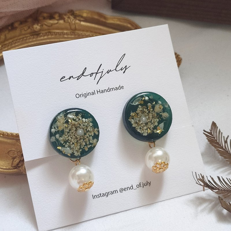 Firework Celestial Velvet Dry Flower Earrings-Pearl Style