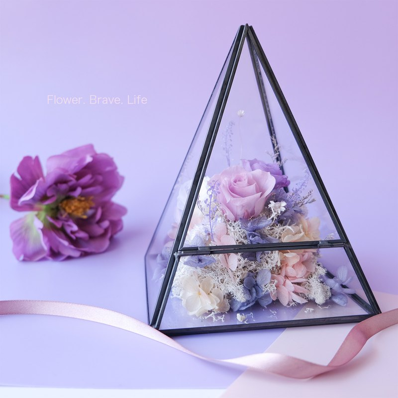 Geometric metal box purple / pink / no flower / eternal flower / rose / Tanabata / Valentine's Day