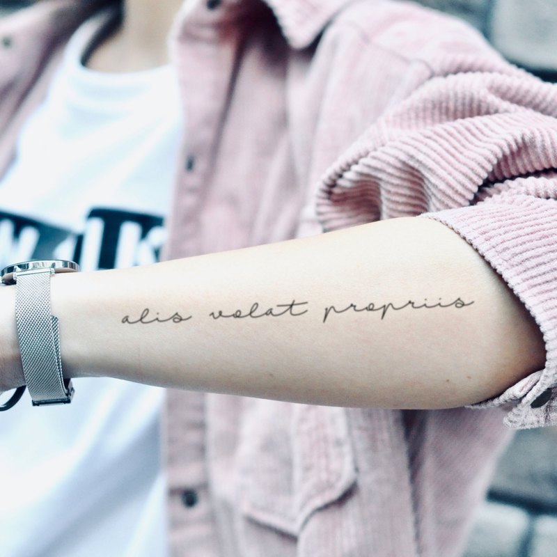 Alis Volat Propriis Temporary Tattoo Sticker (Set of 2) - OhMyTat