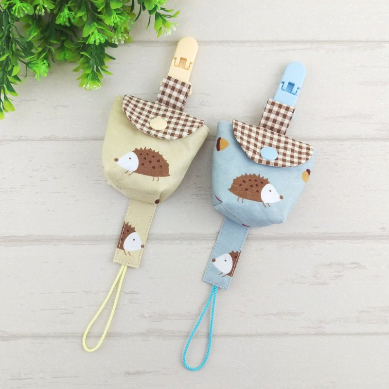 Natural wind hedgehog - 2 colors are optional. Pacifier storage bag + pacifier chain set (up to 40 embroidery name)