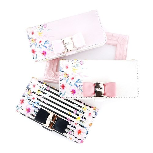Big buckle with ribbon 【Horizontal】 Small flower pattern notebook type smart case