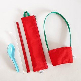 Eat more fruits and vegetables, good health / environmental protection tableware bag + beverage bag / exclusive group / strawberry red pepper
