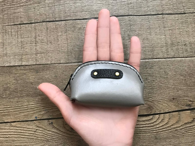 POPO│ middle gray │ palm. Lightweight small coin purse │ real leather