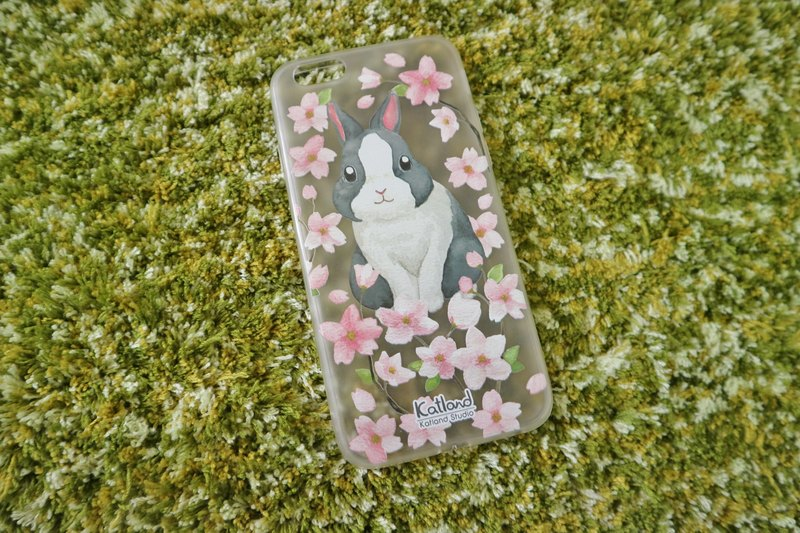 Home - cherry black and white rabbit case protective case Phone Case F1R03