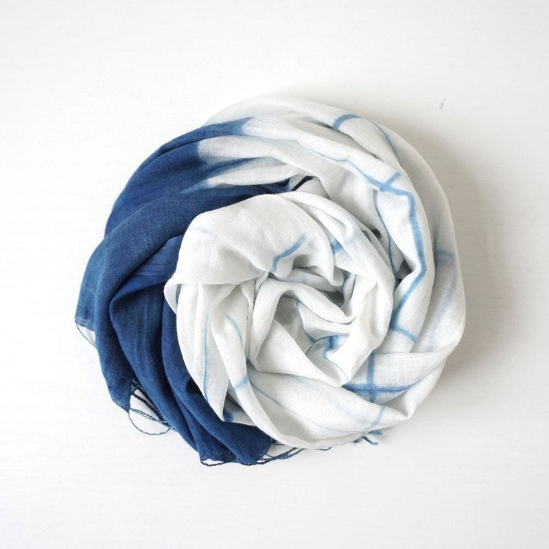 S.A x Line, Indigo dyed Handmade Checks Pattern Silk/Cotton Scarf